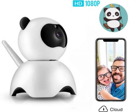 Video Babyfoon -Draadloze babyfoon Baby-bewakingscamera- Tweerichtingsverkeer Nachtzicht Temperatuurbewaking en lange afstand voor uw baby-voor thuis én onderweg met app - Wit