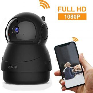 Looki® 1080P Cloud Wifi HD Camera met iOS & Android App - I8 Zwart - Bestuurbare IP Video Beveiligingscamera met IR Nachtzicht en Bewegingssensor - Two-Way Audio - Babyfoon met app