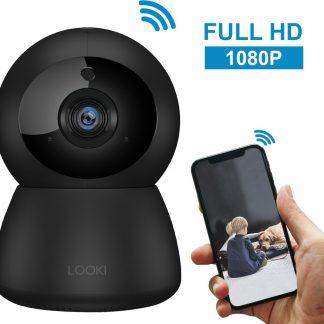 Looki® 1080P HD IP WiFi Beveiligingscamera met Terugspreekfunctie en Bewegingsdetectie - Babyfoon met app - I3 Zwart - Camera met Nachtzicht en Cloud Ondersteuning