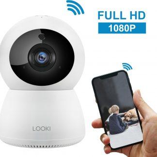 Looki® 1080P HD IP WiFi Beveiligingscamera met Terugspreekfunctie en Bewegingsdetectie - Babyfoon met app - I3 wit - Camera met Nachtzicht en Cloud Ondersteuning