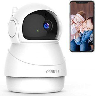 Orretti® 1080P FHD WiFi IP Beveiligingscamera met Bewegingsdetectie - Babyfoon met camera - Nachtzicht - Microfoon met Terugspreekfunctie met iOS/Android app - Wit