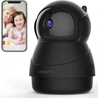 Orretti® 1080P FHD WiFi IP Beveiligingscamera met Bewegingsdetectie - Babyfoon met camera - Nachtzicht - Microfoon met Terugspreekfunctie met iOS/Android app - Zwart