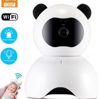 TKSTAR WIFI IP Beveiligingscamera | 720P 30FPS Bewegingsdetectie Nachtzicht 355°/120° Wijde Hoek Gratis APP Babyfoon | Wit