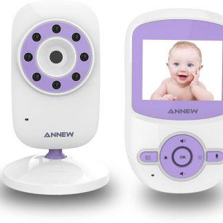 Annew BM24 Babyfoon met Camera | 2,4 Inch Video Babyphone | Baby Monitor met Temperatuurweergave en Nachtzicht Functie | Paars