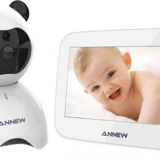 Annew BM50 Babyfoon met Camera | 5 Inch Video Babyphone | Baby Monitor met Nachtzicht Functie | Uitbreidbaar tot 4 Camera's | Wit