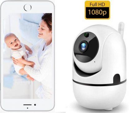 CareForChild - 1080P FHD WiFi IP Beveiligingscamera met Bewegingsdetectie - bewakingscamera - Babyfoon met camera - Wit