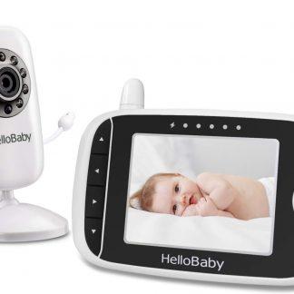 HelloBaby HB32 Babyfoon met camera | 3.2 inch video babyphone | Veilige verbinding | Groot scherm | Terugspreken | Temperatuurcontrole | Slaapliedjes | Nachtzicht | Zoomfunctie