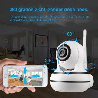 Adétec® NE 5.0 - Full HD - Babyfoon - Beveiligingscamera - IP Camera - wifi Camera - IOS/Android incl. gratis 16 GB SD kaart - Huisdier camera