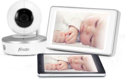 """Alecto DIVM-550 HD Wifi babyfoon met camera en 5"""" touchscreen   Babyfoon voor thuis én onderweg met app en touchscreen voor thuis   Wit"""