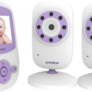 Annew BM24 Babyfoon met Camera   2,4 Inch Video Babyphone   Baby Monitor met Temperatuurweergave en Nachtzicht Functie   Inclusief 2 Camera's   Paars