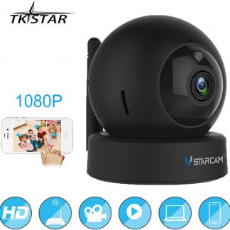 TKSTAR 1080P WiFi PTZ IP Camera | Bewegingsdetectie Nachtzicht 2-weg Audio Huis Beveiliging Babyfoon | Zwart