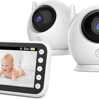 EITIKA Babyfoon met 2 Camera's - 4.3inch LCD scherm - Nachtzicht - Two Way Audio - Slaapliedjes - Temperatuurmeter