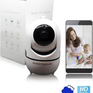 Directsmart - Babyfoon - Beveiligde babyfoon - Beveiligingscamera - babyfoon met app - 1080P HD - Beweging en geluid sensor - Automatisch tracken - Draadloze Beveiligingscamera - IP Camera - Wifi Camera - Beste babyfoon