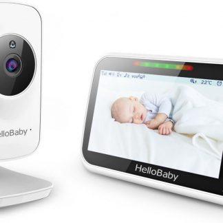 HelloBaby HB50 Premium Babyfoon met camera - Groot LCD display - Nachtzicht - Terugspreekfunctie - Temperatuurcontrole - Slaapliedjes - Zoomfunctie