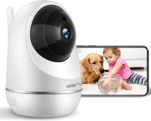 Orretti® X20 HD 3MP Wifi Cloud Camera Babyfoon met iOS & Android Smart App - IP Video Beveiligingscamera met Nachtzicht Bewegingsdetectie Cloud Opslag (Wit)