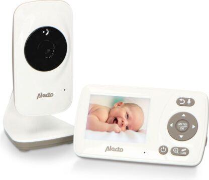 """Alecto Baby DVM-71 Babyfoon met camera en 2.4"""" scherm - Uitbreidbaar tot 4 camera's - Temperatuursensor - wit/taupe"""