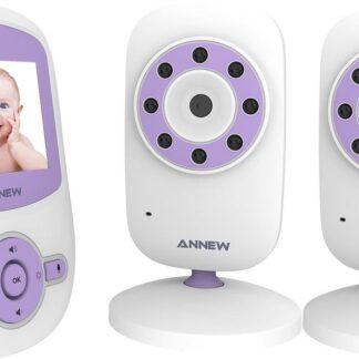 Annew BM24 Babyfoon met Camera | 2,4 Inch Video Babyphone | Baby Monitor met Temperatuurweergave en Nachtzicht Functie | Inclusief 2 Camera's | Paars