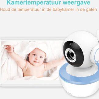 """BOOF® Babyfoon met camera - Groot 5"""" LCD scherm - Nachtzicht - Terugspreekfunctie - Temperatuurcontrole - Slaapliedjes - Zoomfunctie"""
