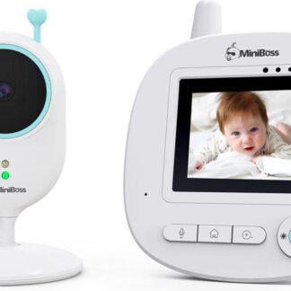 Babyfoon Miniboss MB-240 | Babyphone met Infrarood Nachtzicht | Baby Monitor met Temperatuursensor en Zoom- Wit/Groen