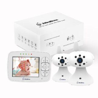 Babyfoon Miniboss MB-350 | Babyphone met Digitaal Nachtzicht | Baby monitor met Temperatuursensor | Inclusief 2 Camera's - Wit