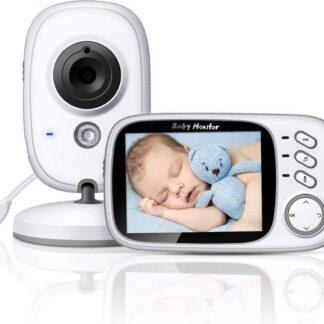 Babyfoon met camera | 3.2 inch babyphone | Veilige verbinding | Terugspreken | Temperatuur | Slaapliedjes | Nachtzicht | Energiebesparing