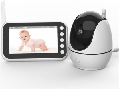 Babyfoon met camera   4,5 inch babyphone   Veilige verbinding   Terugspreken   Temperatuur   Slaapliedjes   Nachtzicht   Energiebesparing  Beeldbabyfoon
