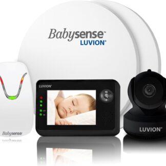 Luvion Essential Limited Black Edition Babyfoon met Camera + Babysense 7 - Sensormatje - 5 Sterren Veiligheidsvoordeelbundel