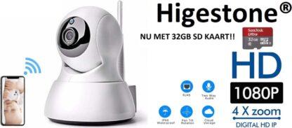 Slimme HD Wifi Babyfoon   Met App   Luisteren en Terugpraten   Bewakingscamera   Babyfoon Met Camera  Met 32GB SD kaart   Babyphone WiFi   Higestone