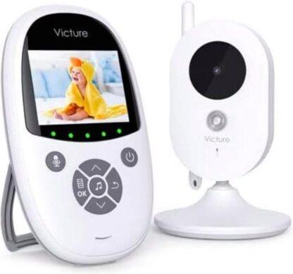 Victure draadloze babyfoon met camera, met 2,4-inch digitaal LCD-scherm, intercomfunctie, VOX, nachtzicht, wekker & temperatuurbewaking