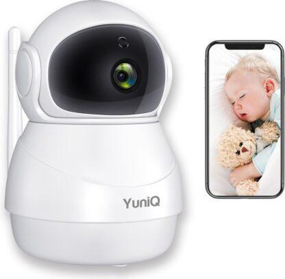 YuniQ Babyfoon - HD Camera en App voor Smartphone - Nachtzicht - Praten en Luisteren via App - Wifi bewakingscamera met Bewegingsdetectie - 1080P HD Beeld - Babyphone met app