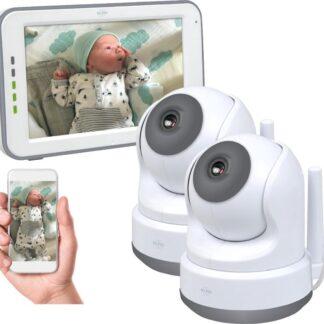ELRO BC3000-2 Babyfoon Royale - met 12,7 cm Touchscreen Monitor HD- & App - Met extra camera - Voor 2 kinderen