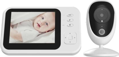 Fuegobird Babyfoon met camera   3.5 inch babyphone   Veilige verbinding   Terugspreken   Temperatuur   Slaapliedjes   Nachtzicht   Energiebesparing