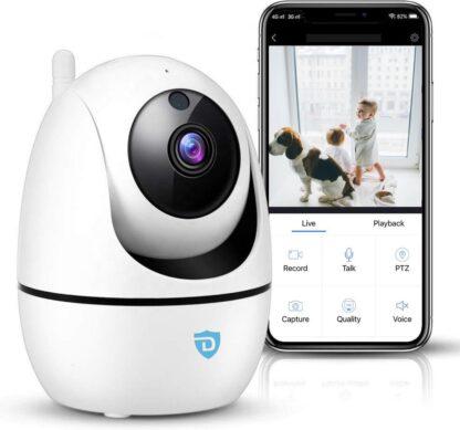 Detepo Huisdier en Baby Wifi Beveiliging Camera - App met Luister en Spreek Functie - Full HD 2 Megapixel - Met Beweeg En Geluidsdetectie - Bewaak uw Huis, Hond of Baby