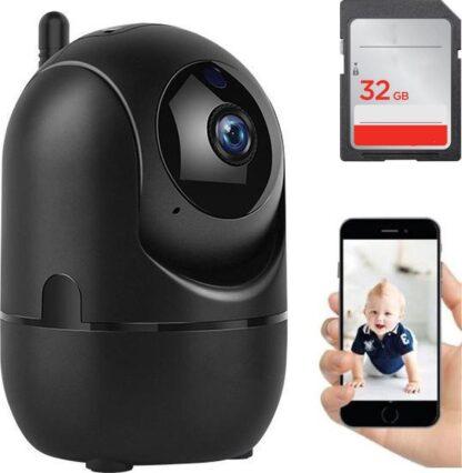 Fuegobird IP-camera met bewegingsdetectie - babyfoon - draadloze camera met wifi ondersteuning + app+32G SD card