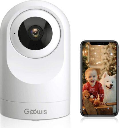 Goowls - WLAN IP-camera, 1080p HD, smart home IP-camera, indoor, nachtzicht, bewegingsdetectie en alarm, 2-weg audio, babyfoon met camera, compatibel met Alexa