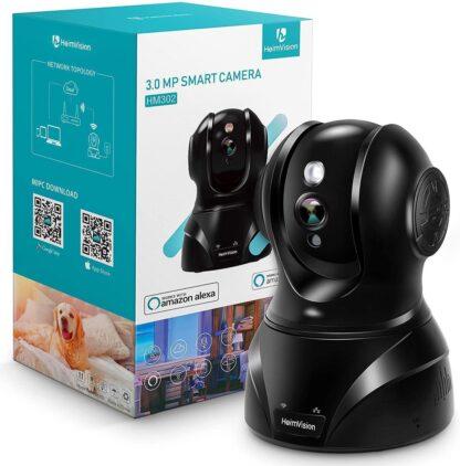 HeimVision 3MP WLAN IP-bewakingscamera, 360° draaibare camera, +32GB SD Kaart, baby/huisdier/thuismonitor, binnenbeveiliging met nachtzicht, intercomfunctie, bewegingsmelder, werkt met Alexa