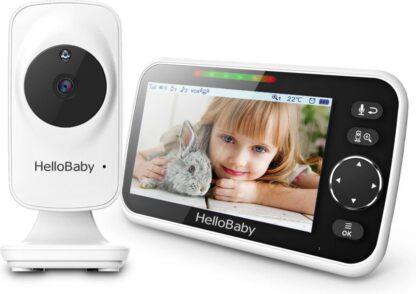 HelloBaby HB 50 Babyfoon met Camera - Groot LCD Scherm - Nachtzicht - Terugspreekfunctie - Temperatuurcontrole - Zoomfunctie - Slaapliedjes
