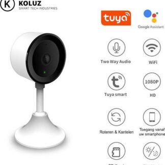 Koluz Smart Babyfoon met Camera HD - Camera Beveiliging - 1080P - Verbeterde versie 2020 - Geluid en Bewegingsdetectie - Nachtzicht - Wit